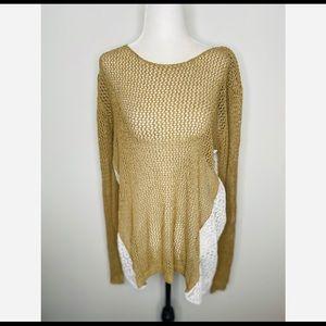 NWT Umgee Long-sleeve mesh with lace top boho